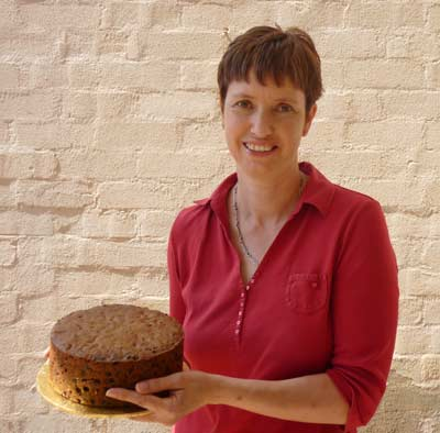 Joy Gibson with her prized fruit cake.