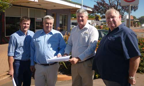 Todd Porter, Kevin Smith, Director of technical services at Lachlan Shire, George Cowan General Manager of Lachlan Shire, and Councillor Ray Shields