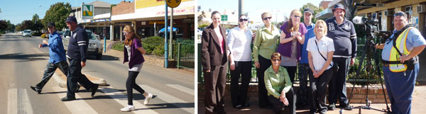 Left: Crossing safely - John Dwyer, Timbo Wheeler and Bonita Brady • Right: Melanie Suitor with Currajong Disability services providers and the camera crew. DG