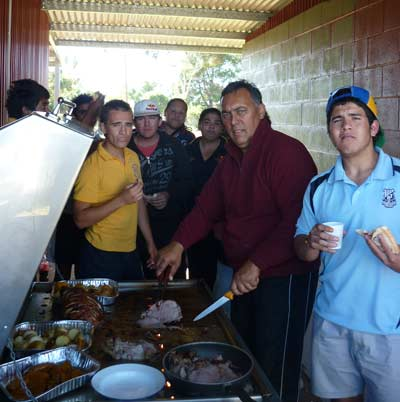 Students from Condobolin High School hosted a barbecue at the Condobolin Men's Shed
