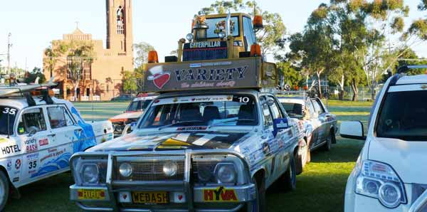 Newcastle Variety Bash vehicles filled the Condobolin Public School oval last Monday morning.