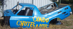 The ute sculpture intended to promote Condobolin's own Chutes and Utes Festival prepared by Condobolin artists Karen Tooth and Jamie Coffill.