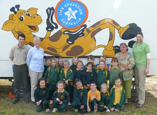 Students at St Joseph's Primary School got the chance to meet Harold the Giraffe last week and learn about healthy living.