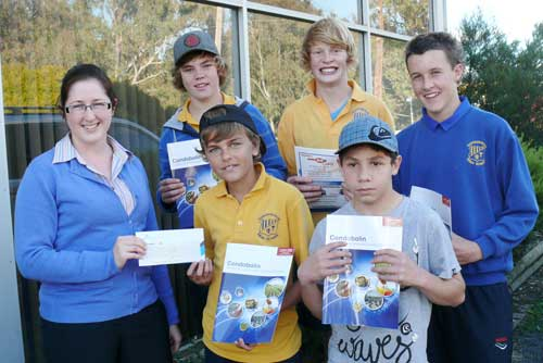 Helen Barrass presents the cheque to skatepark committee members Lewis Goodsell, Jed White, Alex Davis, Kerrod Griffiths and Trent Wighton.