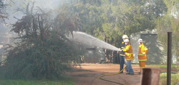 Firefighters from both Fire and Rescue NSW and the Rural Fire Service fought to stop the blaze spreading to neighbouring houses.