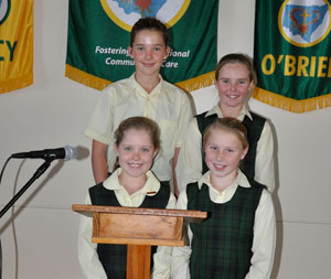 St Joseph's students; front: Georgie McMillan and Lucy Kirk; back: Madeline Sinderberry and Bianca Smith. Contributed