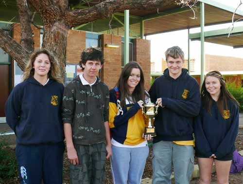 Students Abby Dargan, Scott Tanswell, Amy Thornton, Brayden Palmer and Reble Taylor with the 'Who is the Champ?' sporting competition trophy. DG