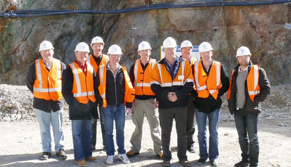 Chief Operating Officer at Mineral Hill, Stuart Mathews (fourth from right), with a group of Sydney visitors before they embarked on a tour of Parkers Hill underground mine.
