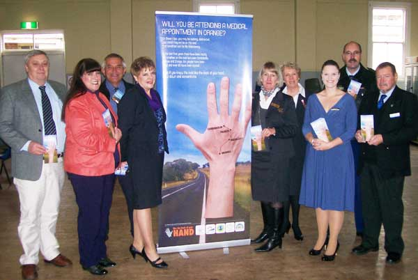 Kevin Smith (LSC), Andrea Hamilton-Vaughan (Orange City and Cabonne Shire), Cr. Ian Gosper (Cabonne), Jenny Short ( RTA), Karen Boyde (Orange CC), Maureen Horth (Orange CC), Melanie Suitor (Parkes, Forbes and Lachlan Shire Councils), Superintendent Bob Ryan (LAC - NSW Police) and Cr. George Pratt (Parkes SC).