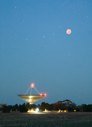 The lunar eclipse at the Parkes Dish. Photographed by Operation Scientist of the CSIRO Parkes Observatory, John Sarkissian.