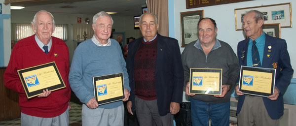 Recognised for their support: Derm Carey, Earle Harding, President Doug Parnaby, Keith Hartin and Owen Cannon. Absent: Lionel Turner, Ella Adams and Joan Keeley. Photo Kathy Parnaby