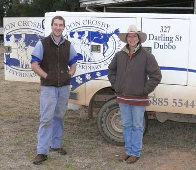 "Dr Alistair Grant with Condobolin local Sharron Brown of ""Three Peaks""."