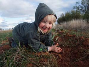 Emma Patton (3) has a big job on her hands helping her parents Bruce and Wendy Patton plant their 10,000 trees.