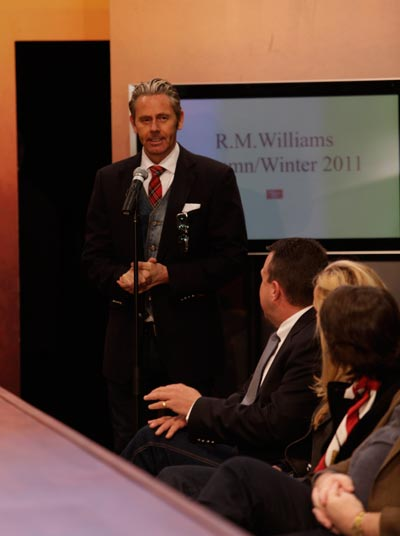 Jonathan Ward at the RM Williams 2011 Winter presentation. Photo supplied by RM Williams.