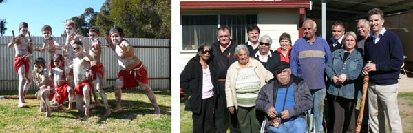 Left: Condobolin's Googar Dancers. Right: Representatives from Condobolin's Yawarra Aboriginal Corporation and the Aboriginal Disability Network NSW. DG