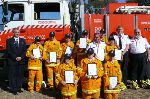 Condobolin High School RFS cadets with their mentors. DG