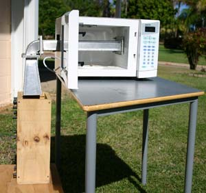 A laboratory model used to trial the effectiveness of microwave radiation in weed control.