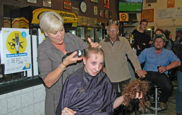 Condobolin girl Jade Thomas braved the hairdresser's clippers last Friday evening, shaving her head to raise money for cancer research and support.