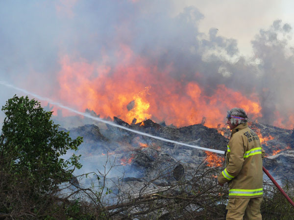 The Condobolin Rubbish Tip caught fire last Friday afternoon, starting a huge blaze which created a thick stream of black smoke visible all across town.