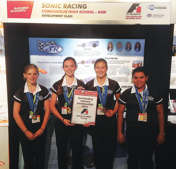 Condobolin High School has made its mark at the national F1 in Schools Challenge in Melbourne, coming away with an award for Outstanding Industry Collaboration.
