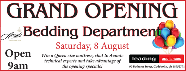 Condobolin Leading Applicances are opening a bedding department.