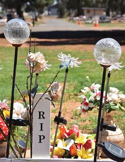 No trinkets, mementos, solar lights or statues will be allowed to be placed in the Lawn Cemetery from now on. And all those already in place, will have to be removed as soon as possible.